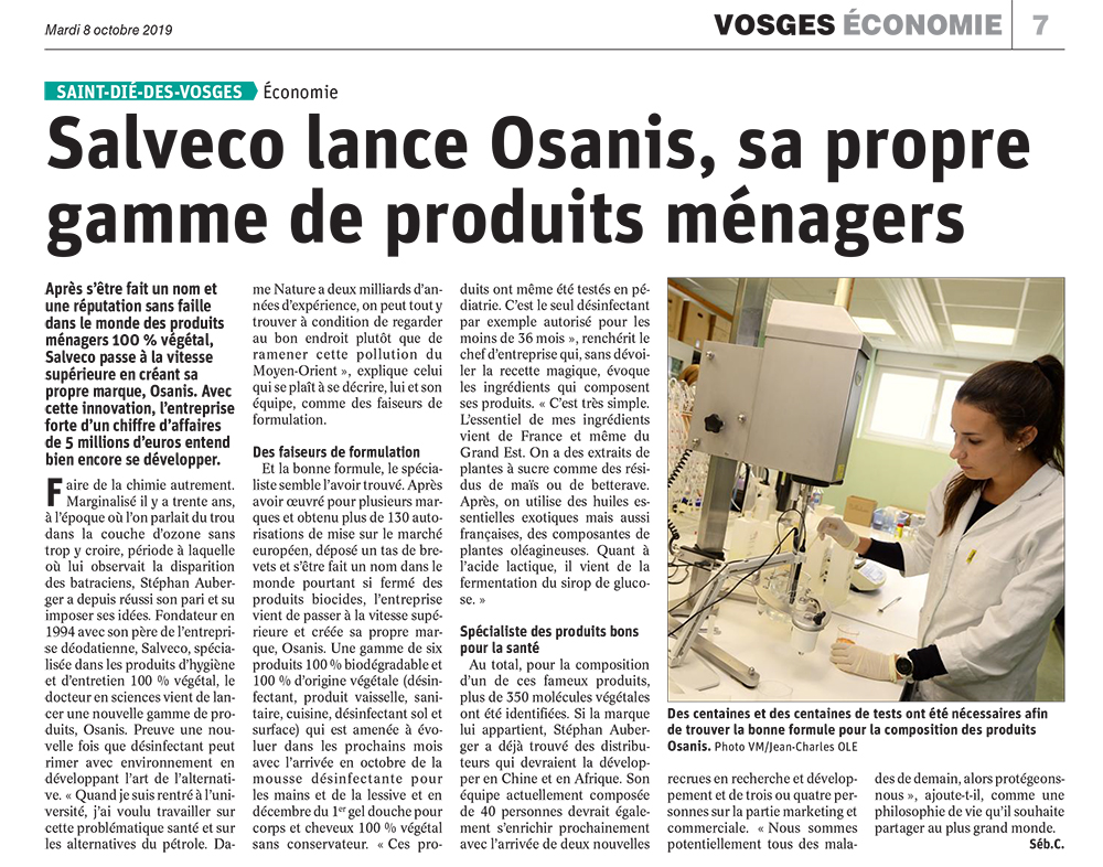 Salveco lance OSANIS, sa propre gamme de produits ménagers